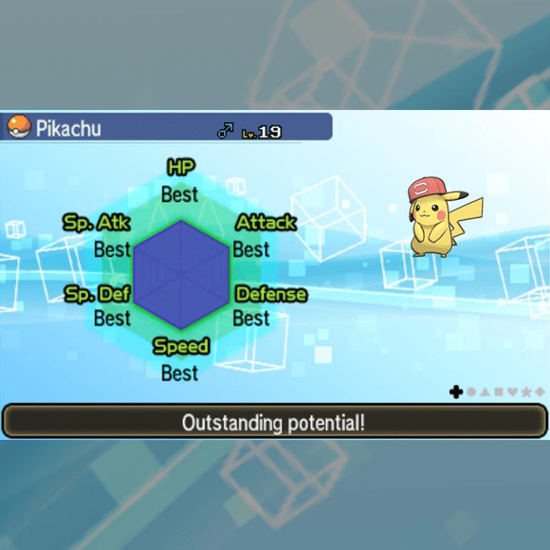 Ash Pikachu - Alola Cap & IVs
