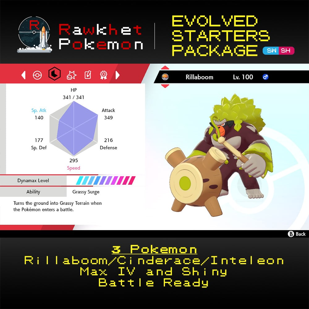 Galar Evolved Starters Trio - Rillaboom Stats