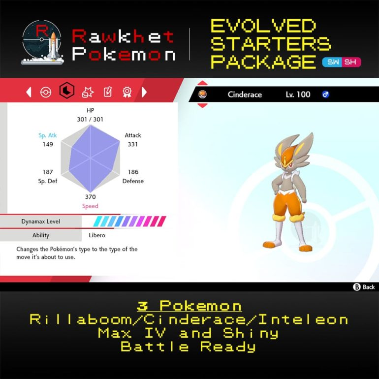 Galar Evolved Starters Trio - Cinderace Stats