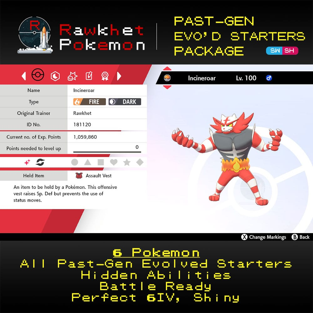 Past-Gen Evolved Starters - Incineroar