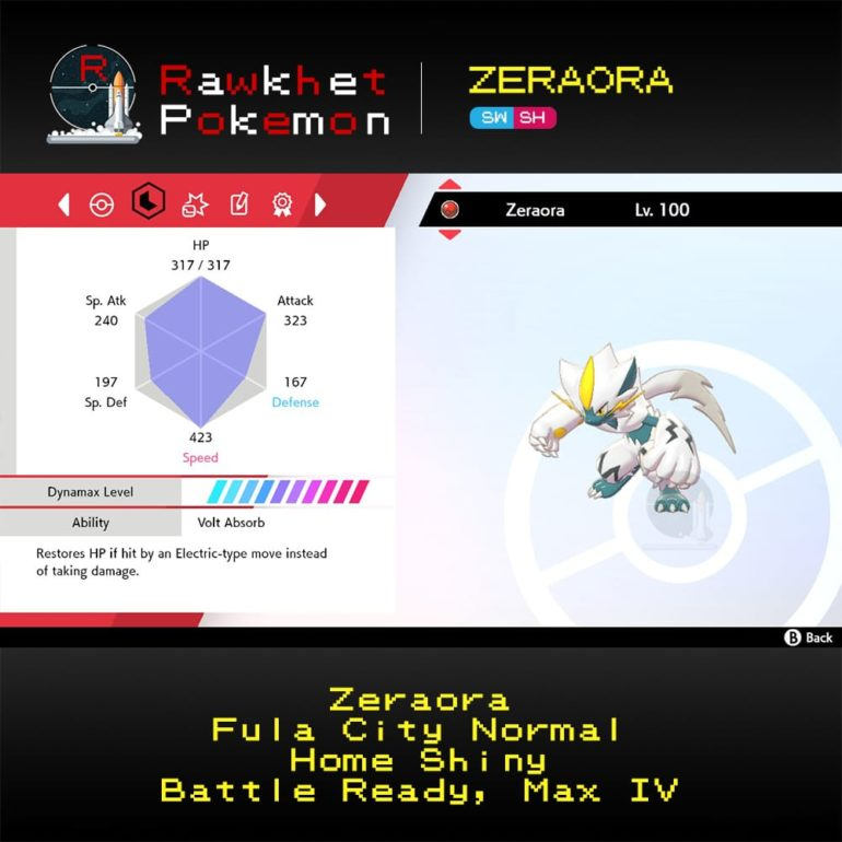 Zeraora SWSH - Home Shiny Stats