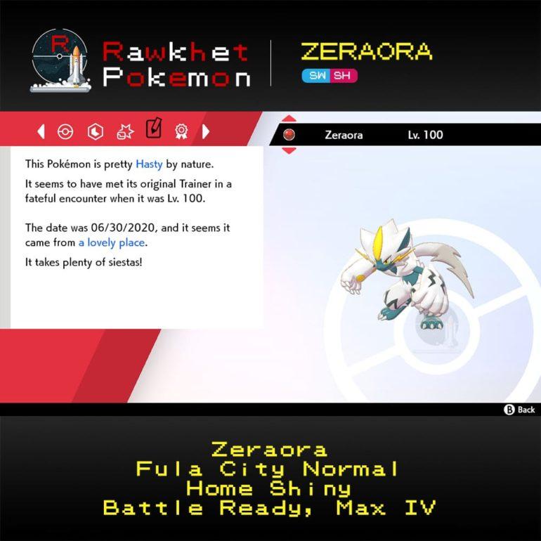 Zeraora SWSH - Home Shiny Summary