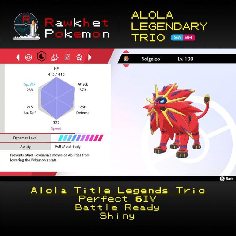 Alola Trio - Solgaleo Stats