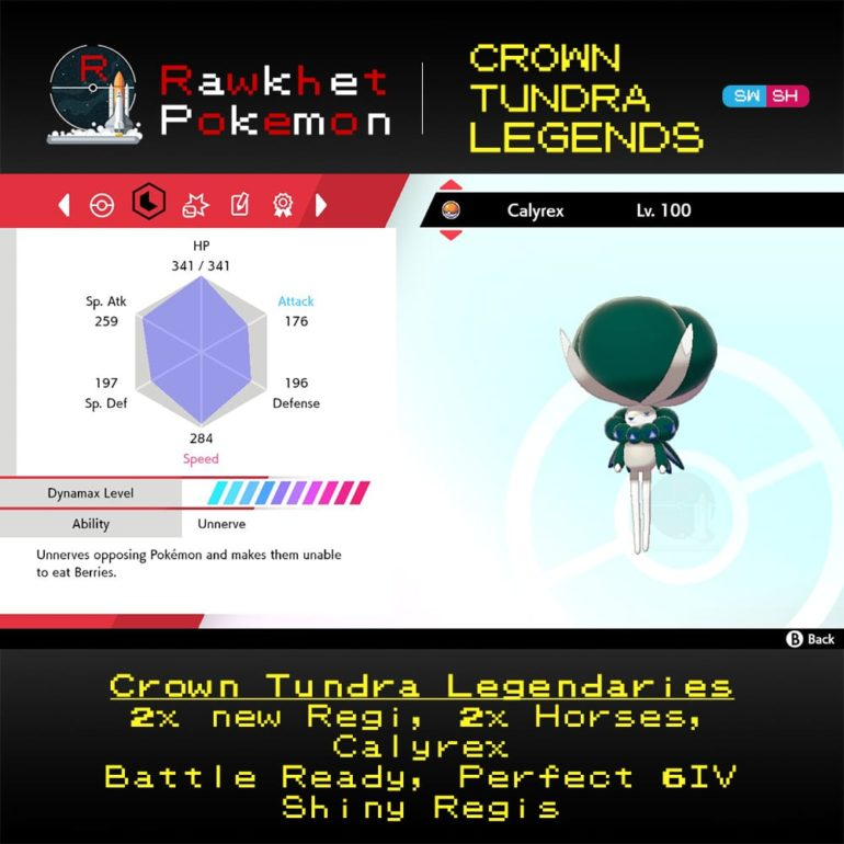 Crown Tundra Legends - Calyrex Stats