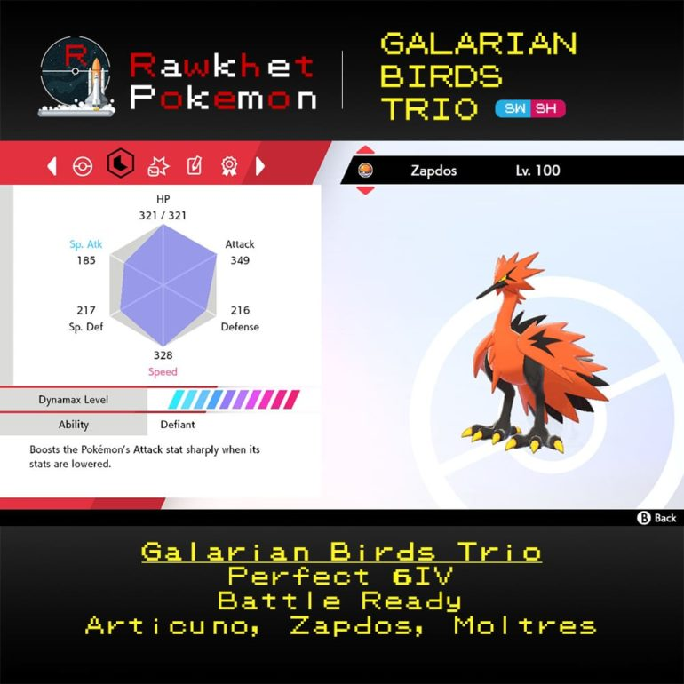 Galarian Birds - Zapdos Stats