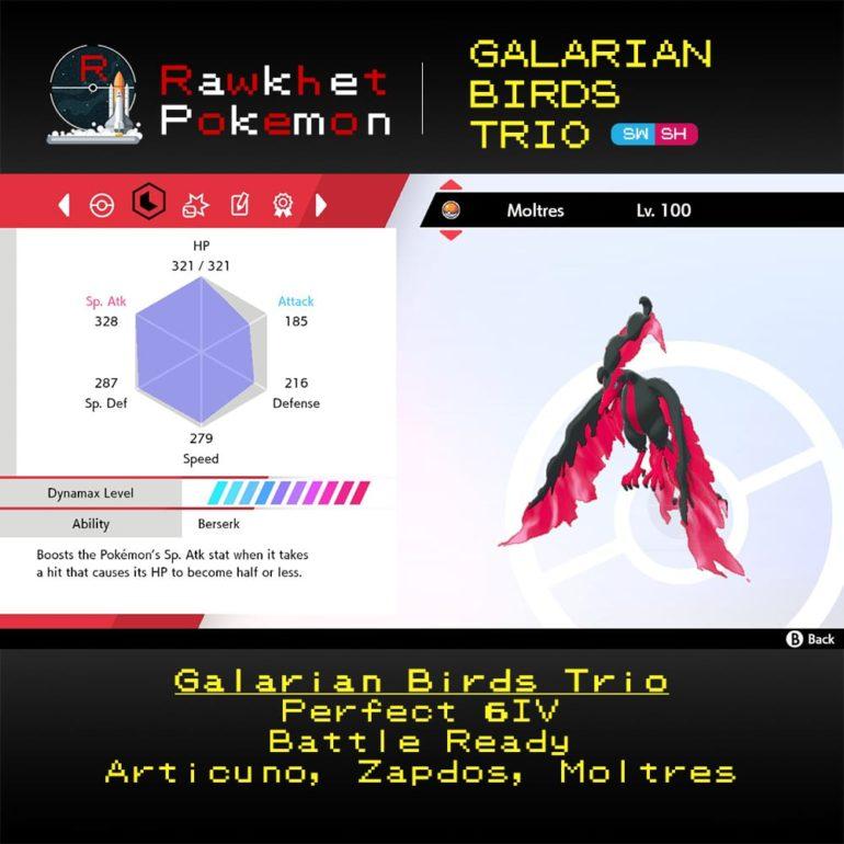 Galarian Birds - Moltres Stats