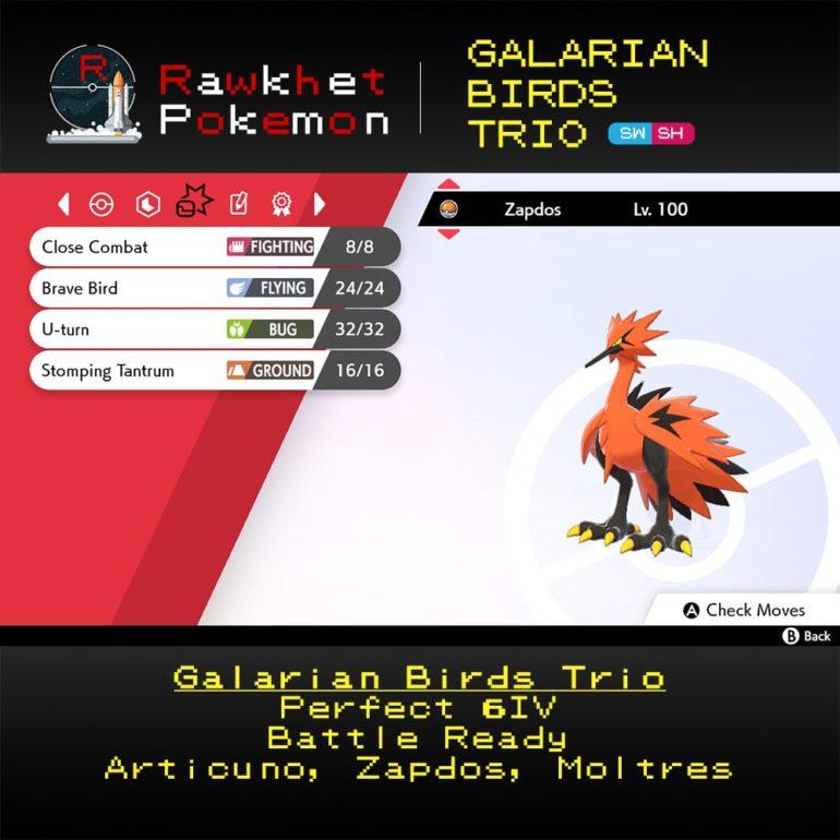 Galarian Birds - Zapdos Moves